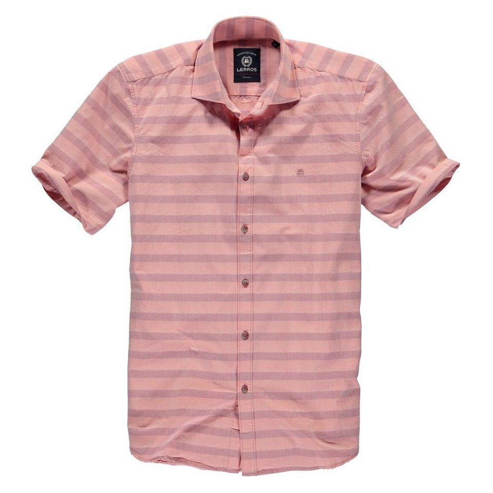 LERROS Kurzarmhemd mit Horizontalstreifen in CORAL RED