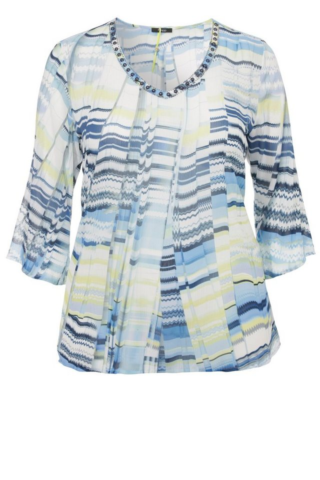 FRAPP Federleichte Voile-Bluse »Blue Spirit« in LIQUID BLUE MULTICOL
