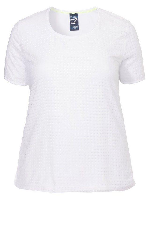 FRAPP Modisches Kombi-T-Shirt mit Laser-Cut-Muster in WHITE