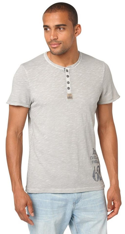 TOM TAILOR T-Shirt »Henley-Shirt im Vintage-Look« in light frost grey