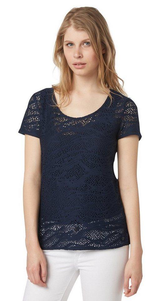 TOM TAILOR T-Shirt »T-Shirt mit Lochmuster-Struktur« in real navy blue