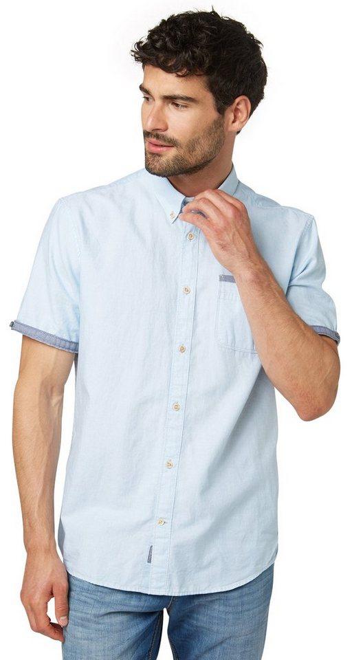 TOM TAILOR Hemd »Button-Down-Hemd mit feinem Muster« in even blue