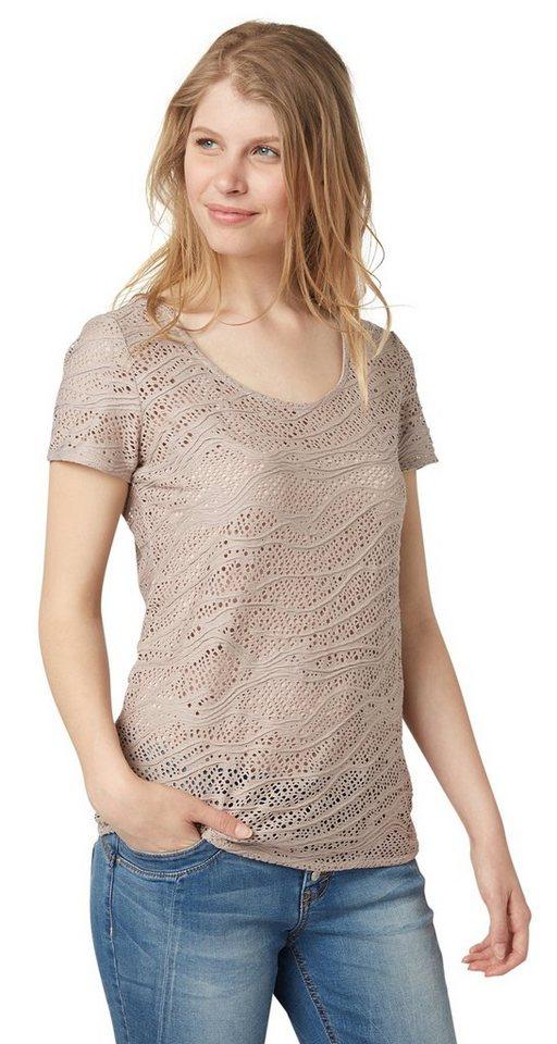 TOM TAILOR T-Shirt »feminine structured shirt« in smokey greige