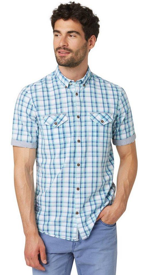 TOM TAILOR Hemd »kariertes Kurzarm-Hemd« in bluish turquoise
