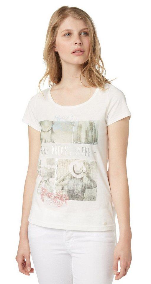 TOM TAILOR T-Shirt »T-Shirt mit sommerlichem Print« in whisper white