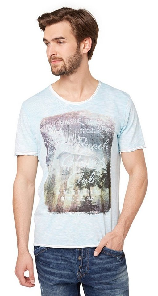 TOM TAILOR T-Shirt »tee w/ treatment and print« in aquarius turquoise