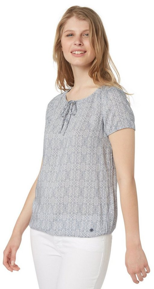 TOM TAILOR Bluse »gemusterte Kurzarm-Bluse« in steal blue