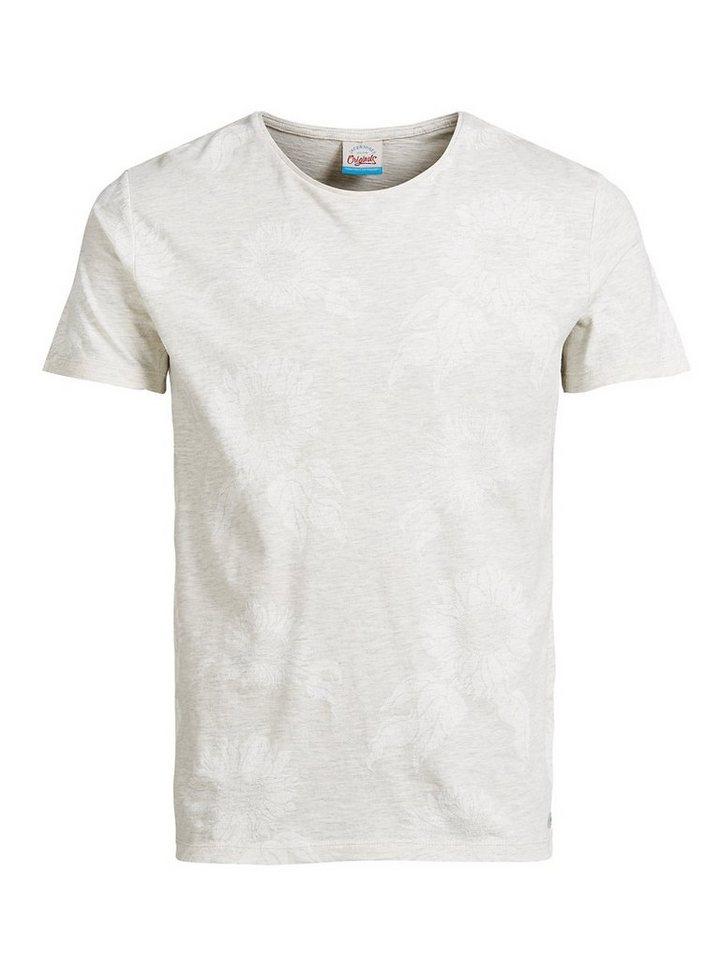 Jack & Jones Tropical-Print- T-Shirt in Treated White