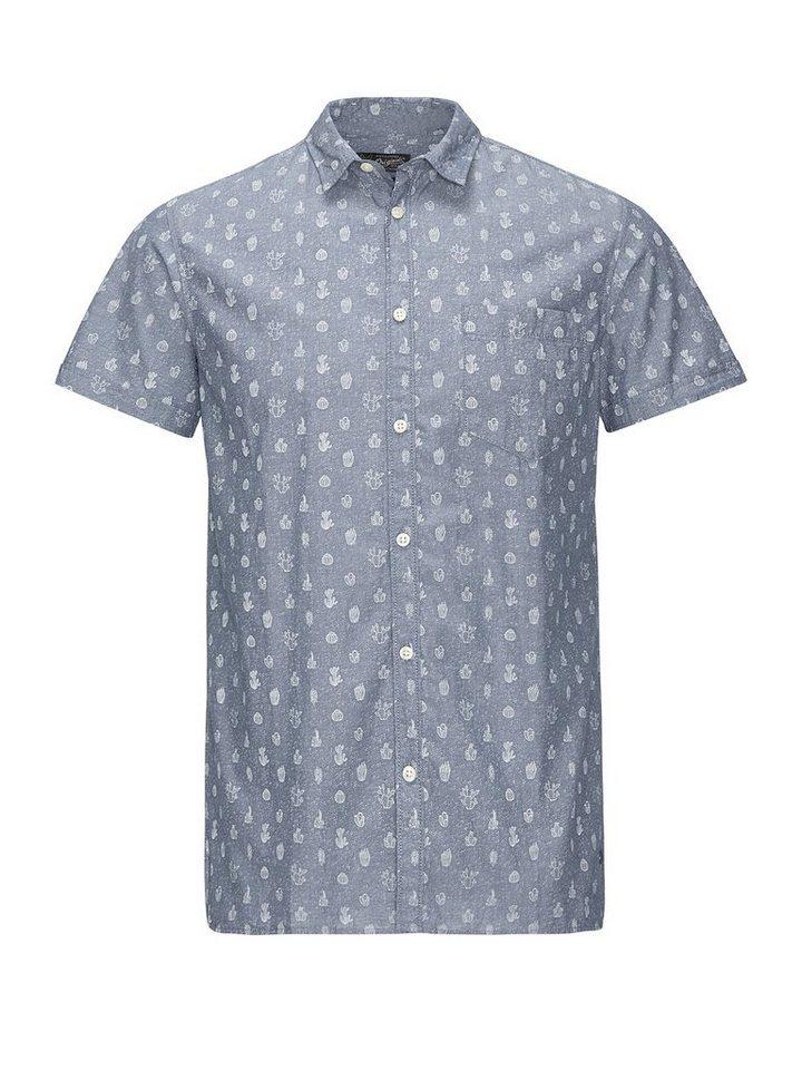 Jack & Jones Allover-Print- Kurzarmhemd in Light Blue Denim
