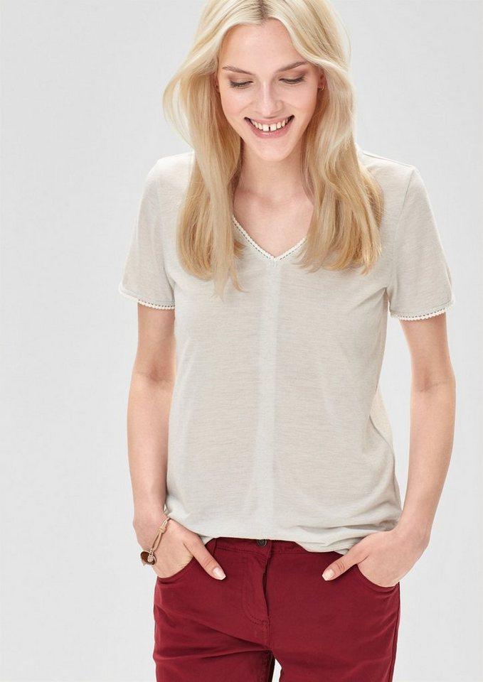 s.Oliver RED LABEL Melange-Shirt aus Leinen-Mix in creme melange