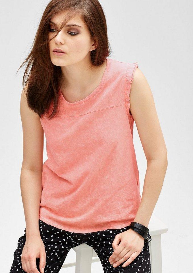 s.Oliver Denim T-Shirt mit Rüschen-Ärmeln in capri