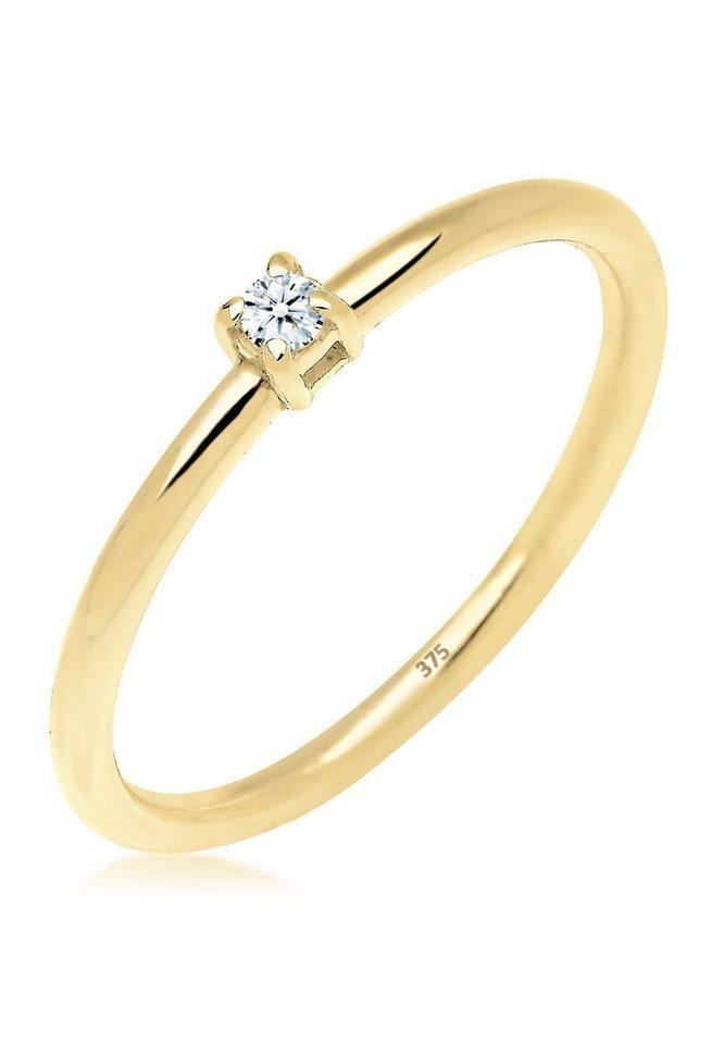 Elli Ring »Verlobungsring Diamant 0.03 ct. 375 Gelbgold« in Weiß