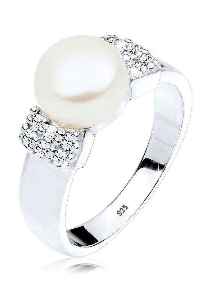 PERLU Ring »Süßwasserzuchtperle Swarovski® Kristalle Silber« in Weiß