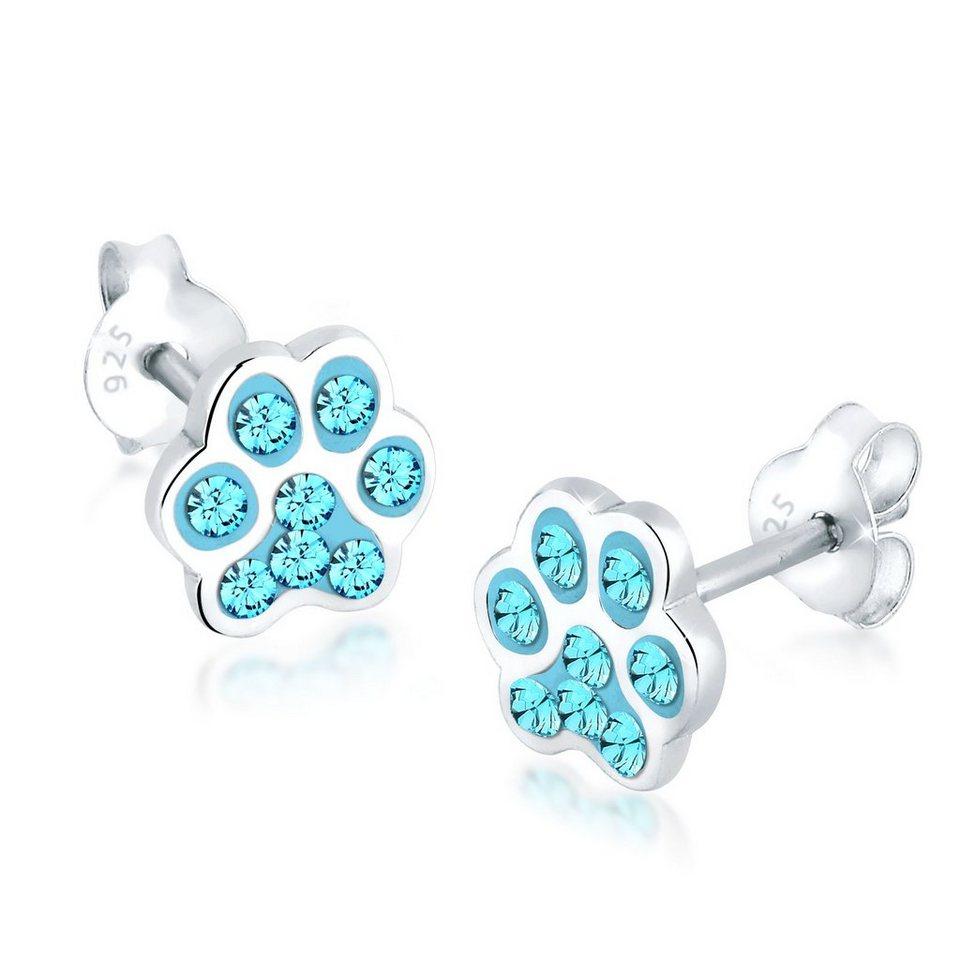 Elli Ohrringe »Katzenpfoten Pfote Swarovski® Kristalle Silber« in Hellblau