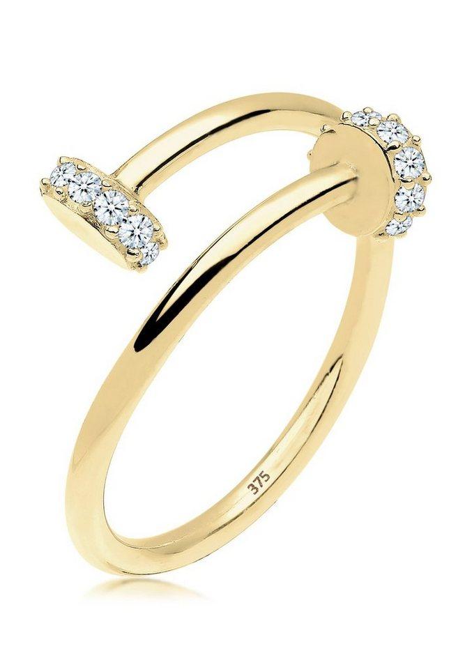 Elli Ring »Nagel Statement Diamant 0.14 ct. 375 Gelbgold« in Weiß