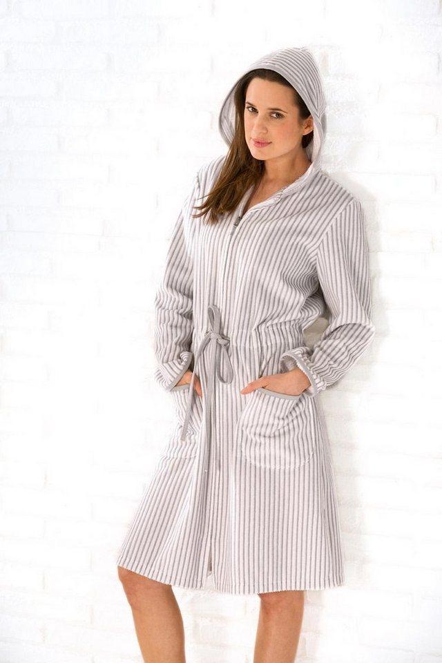 Damenbademantel, Cawö, »Borkum«, mit feinen Streifen in grau-weiß