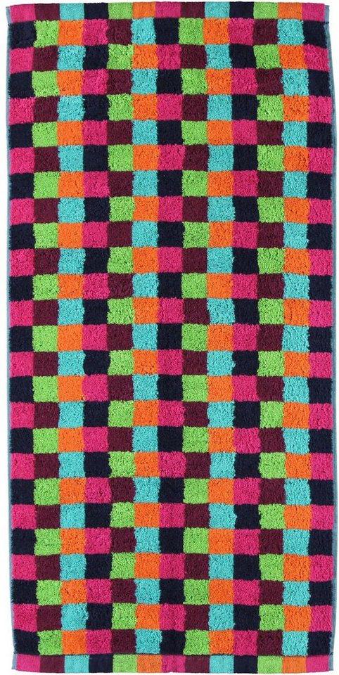Badetuch, Cawö, »Lifestyle Cubes«, mit kleinen Karos in multi-neon