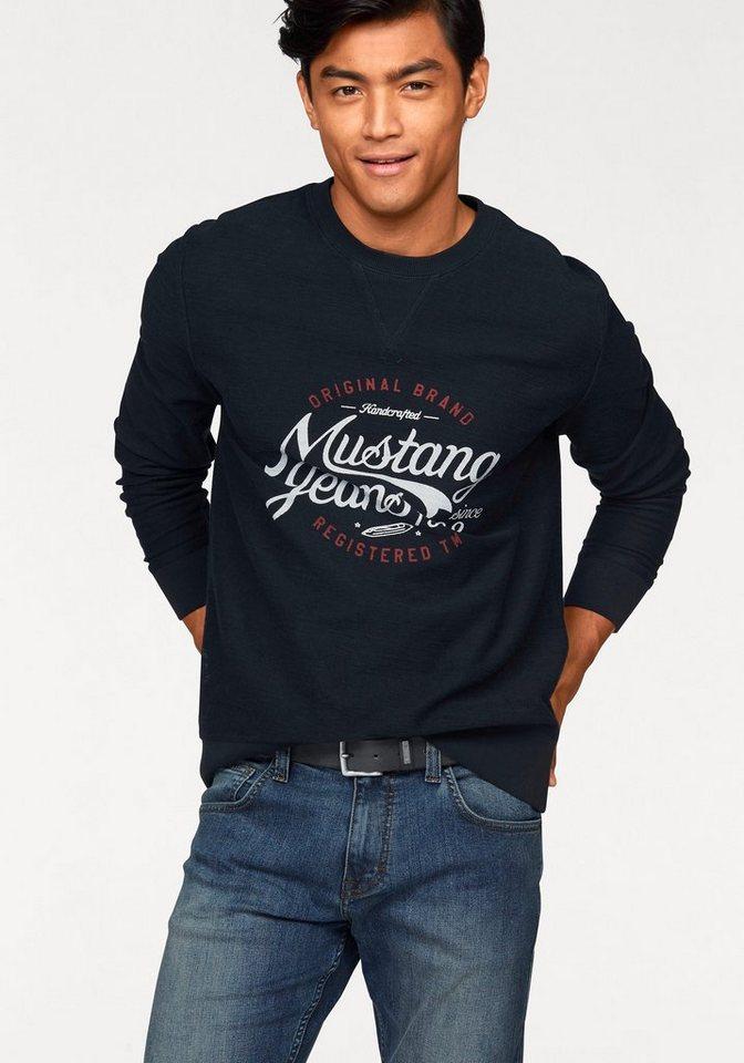 Mustang Sweatshirt Inside-Out-Optik in marine