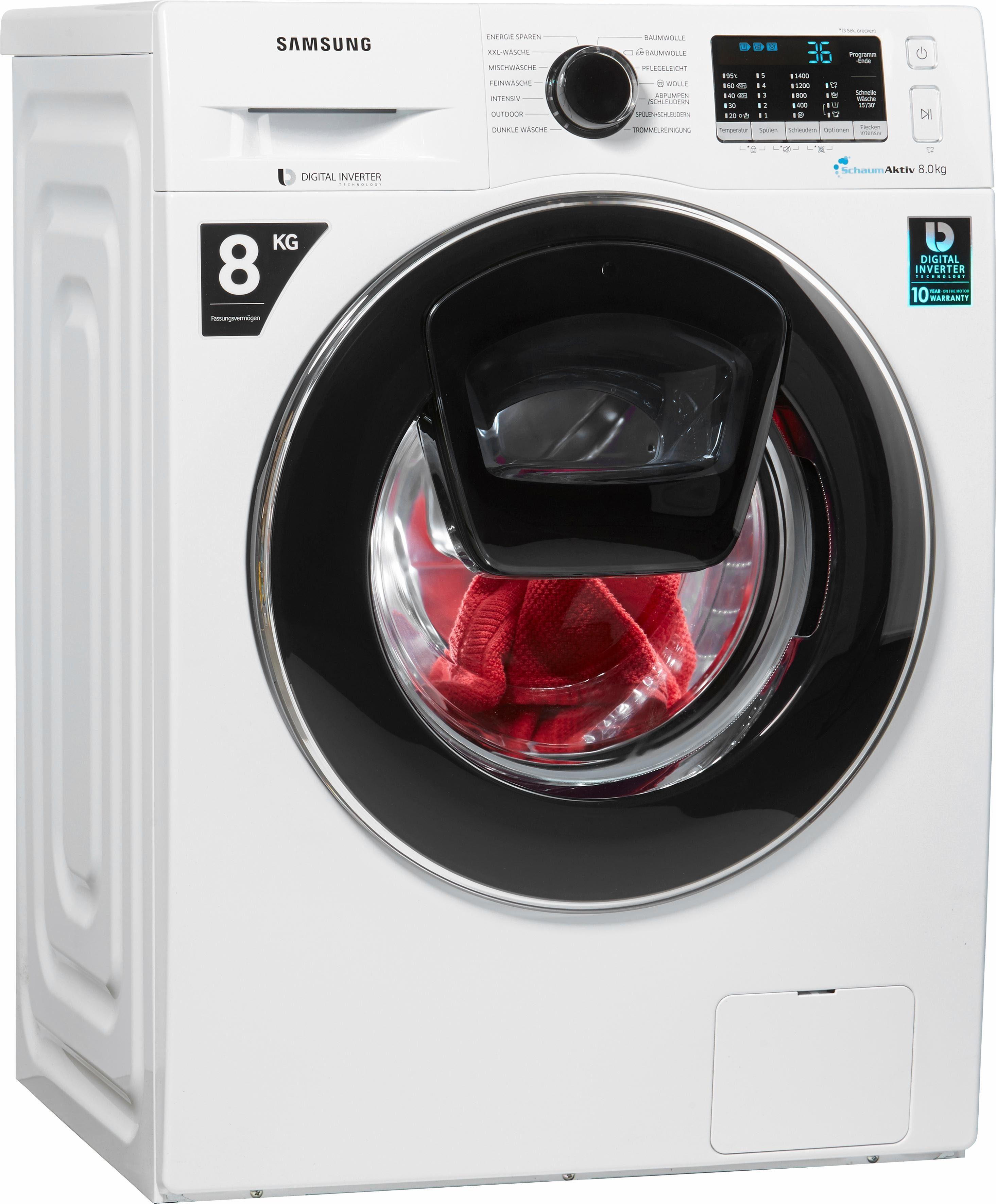 Samsung Waschmaschine WW5500 AddWash WW80K5400UW/EG, A+++, 8 kg, 1400 U/Min