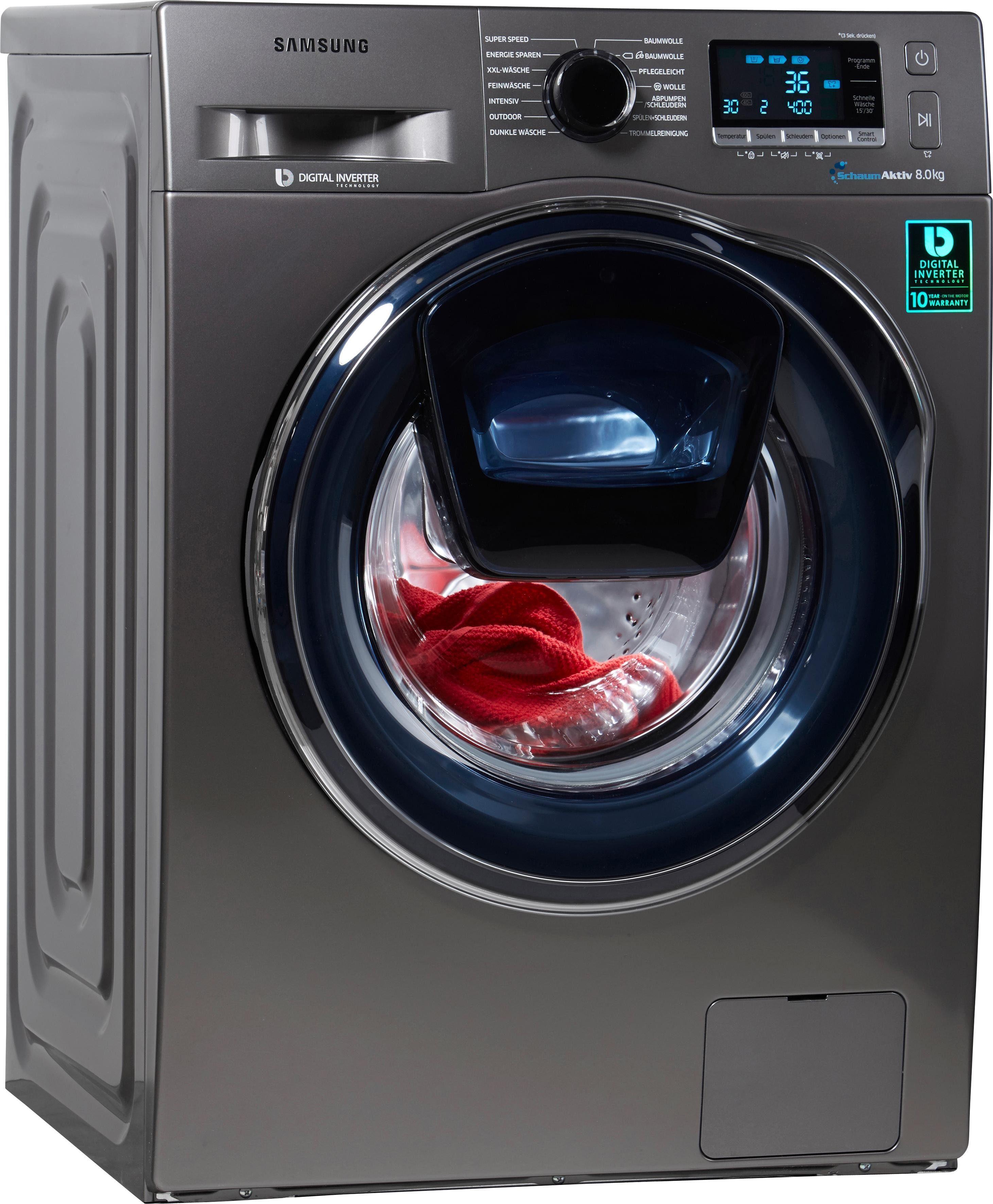 Samsung Waschmaschine WW6500 AddWash WW80K6404QX/EG, A+++, 8 kg, 1400 U/Min
