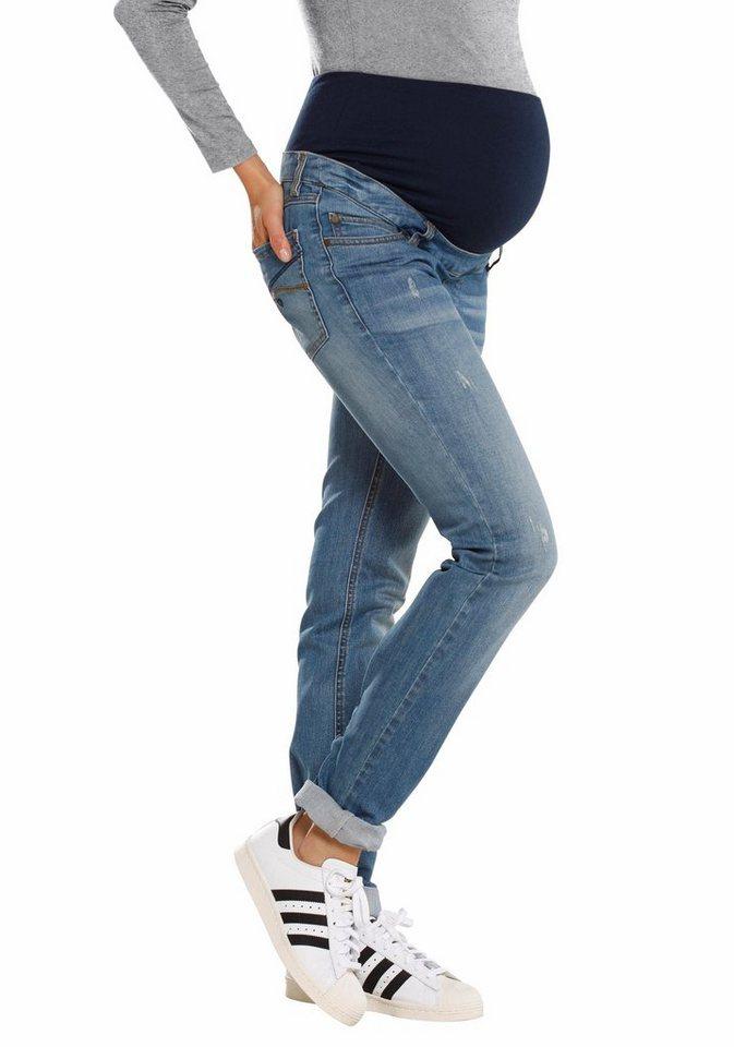 Neun Monate 5-Pocket-Jeans mit leichten Used-Effekten in blue-used-destroyed-Effekte