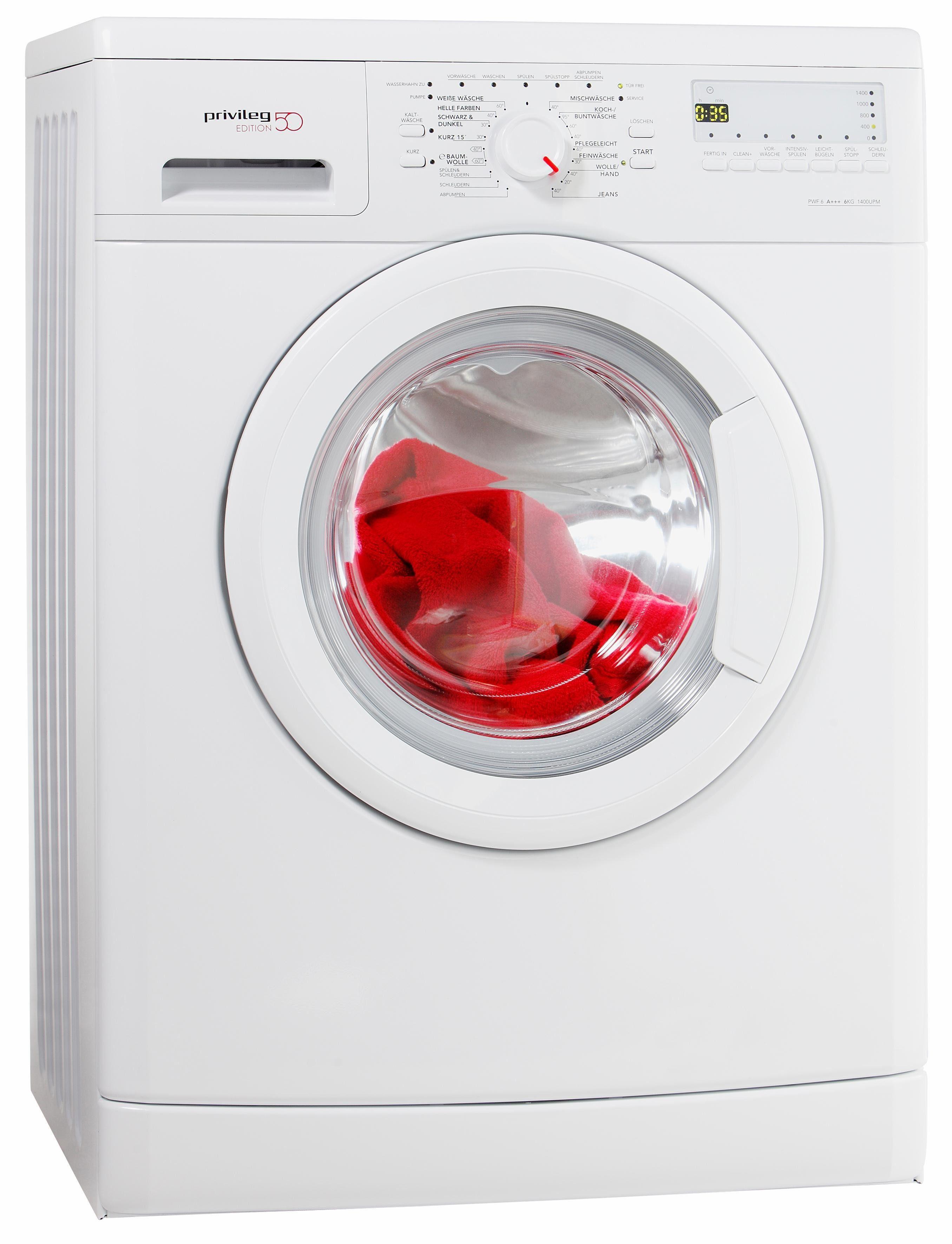 Privileg Waschmaschine PWF 6 A+++ Edition 50, A+++, 6 kg, 1400 U/Min