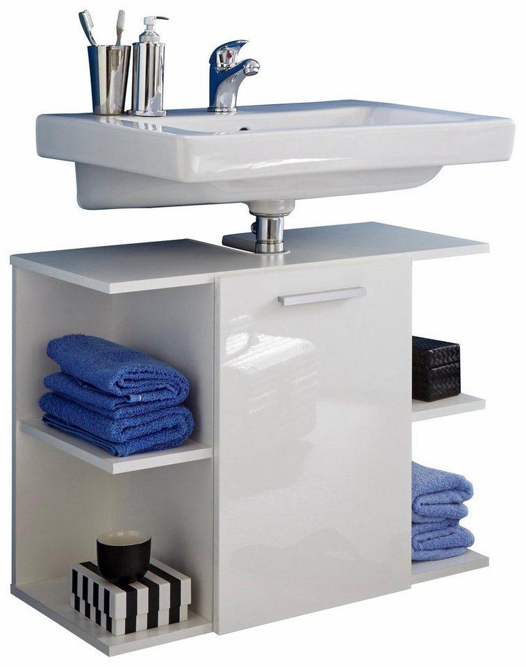 Waschbeckenunterschrank »Key« in weiß/weiß Hochglanz