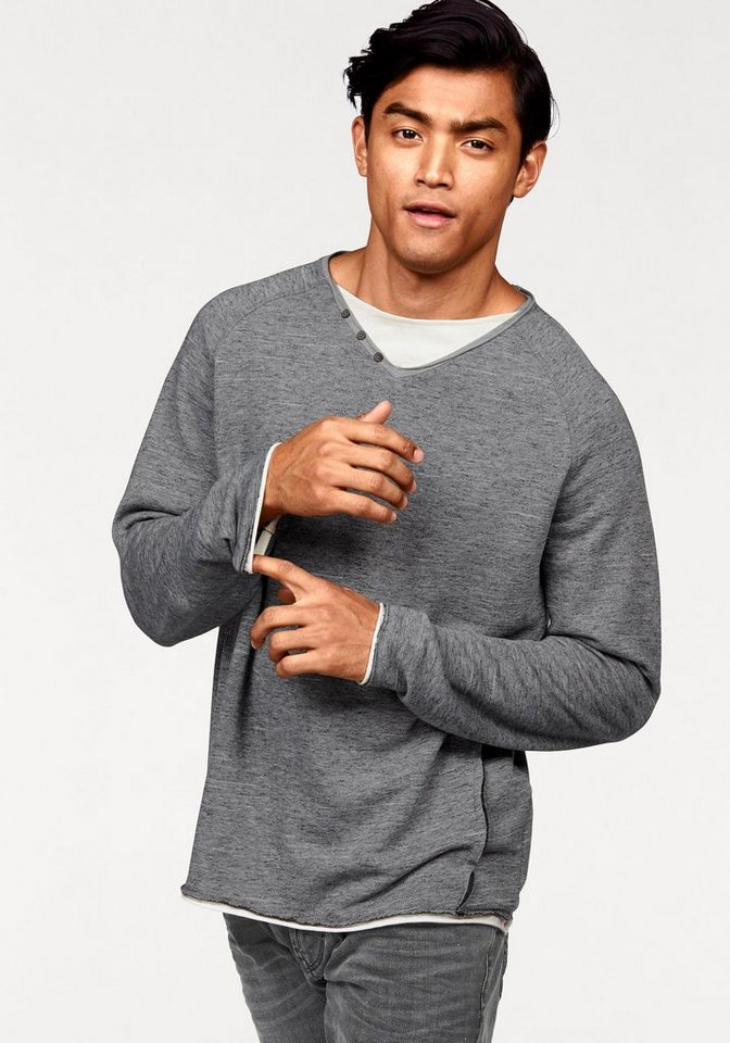 Tom Tailor Sweatshirt mit Layer-Effekt in grau-meliert