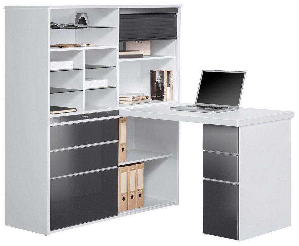 Büromöbel weiß grau  Maja Möbel Minioffice »9565« mit ausziehbarer Tischplatte online ...