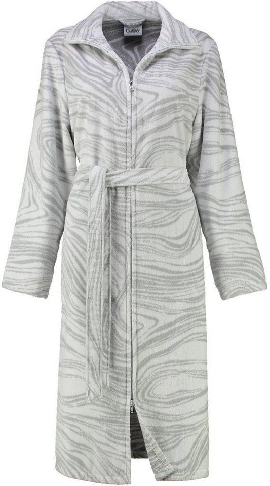 Damenbademantel, Cawö, »Amrum«, mit dezentem Muster in grau