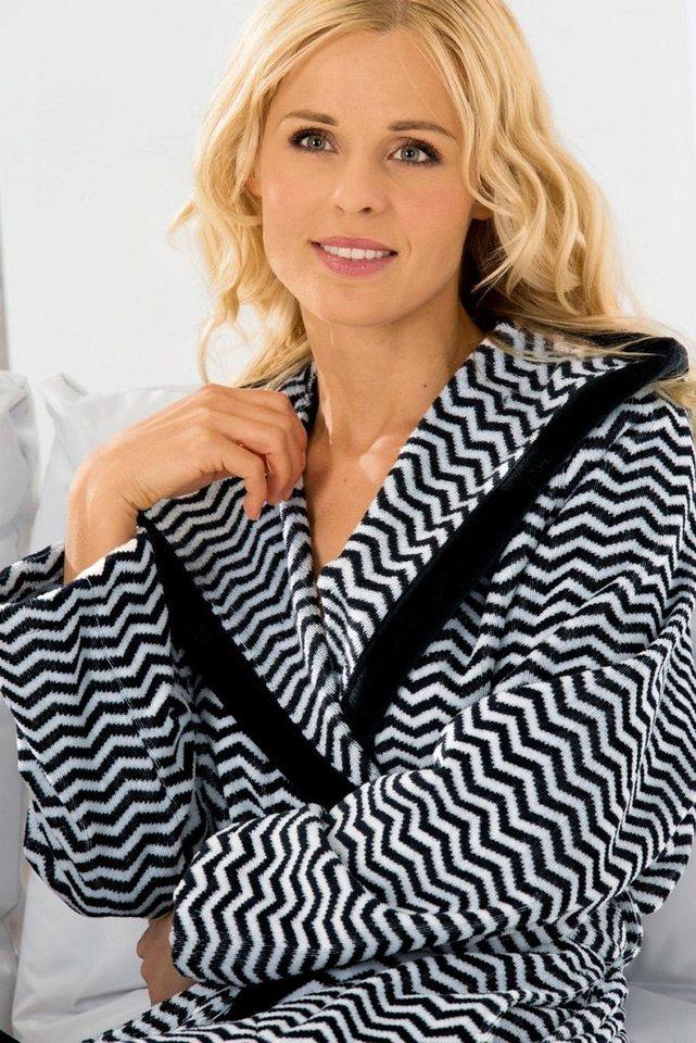 Damenbademantel, Cawö, »Helgoland«, mit Zick-Zack Muster in schwarz-weiß