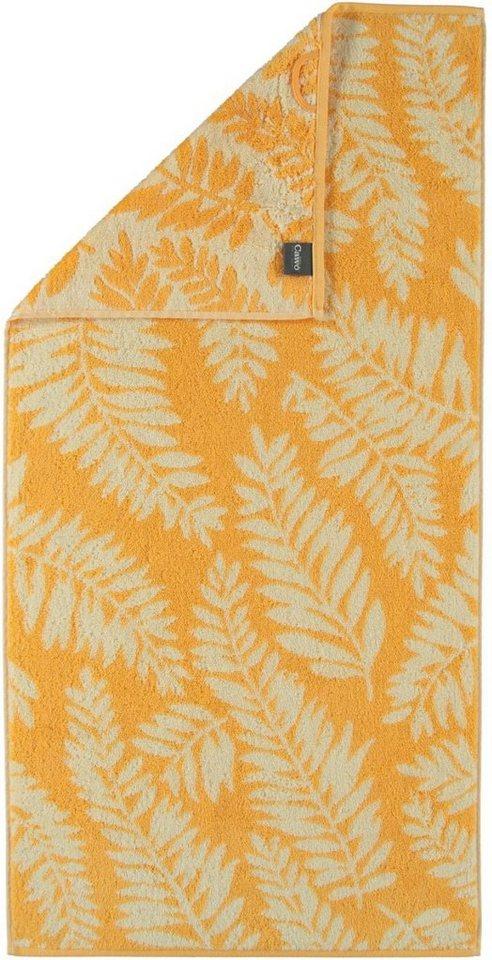 Handtücher, Cawö, »Leaves«, mit Blatt-Motiven in orange