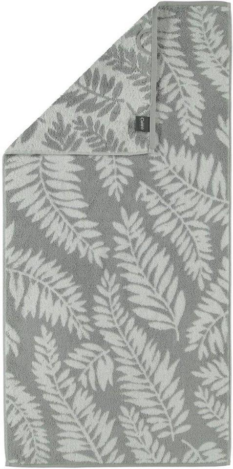 Badetuch, Cawö, »Leaves«, mit Blatt-Motiven in grau