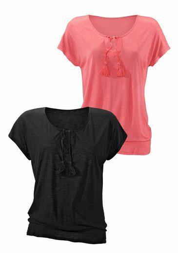 Beachtime T-Shirts mit geflochtenen Bändern und Smokeinsatz am Saum (2 Stück)
