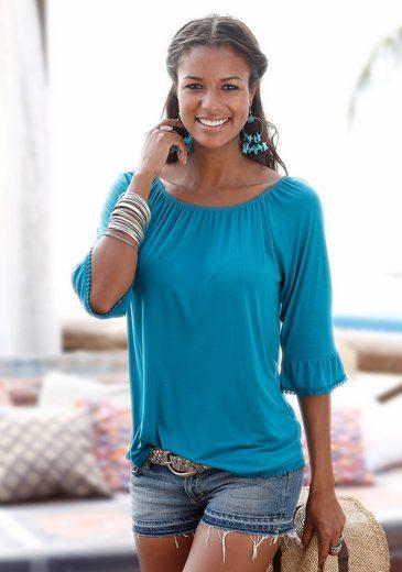 LASCANA Carmen-Shirt mit Häkelborte
