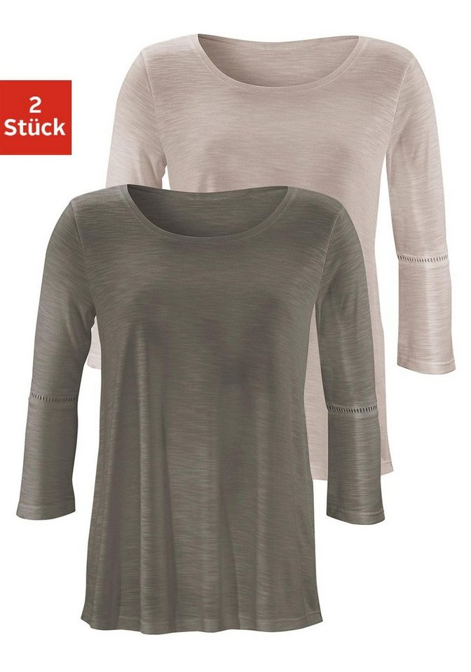 LASCANA Shirts mit Häkeleinsätzen an den Ärmeln (2 Stück) in beige + khaki
