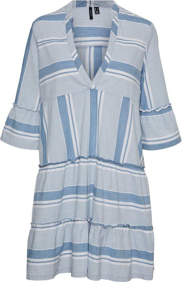 vero moda curve -  Blusenkleid Mit Volants an Ärmeln und Saum