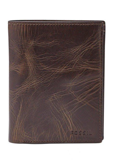 Fossil Geldbörse »DERRICK RFID« aus Leder mit RFID in dunkelbraun