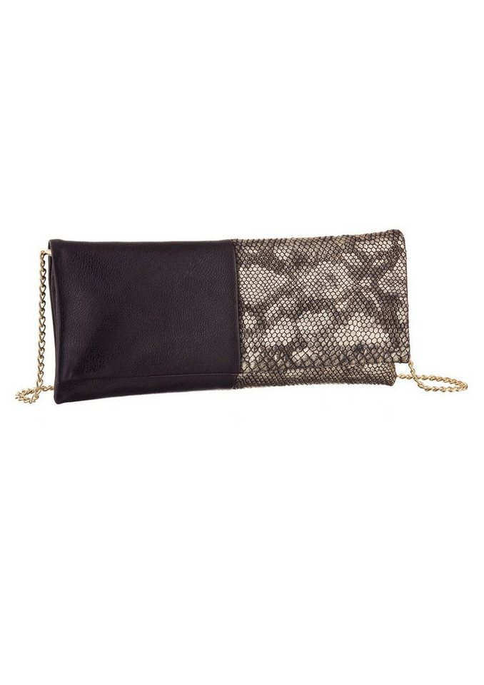 Melrose Clutch mit Reptilprägung in Metallic Optik in schwarz