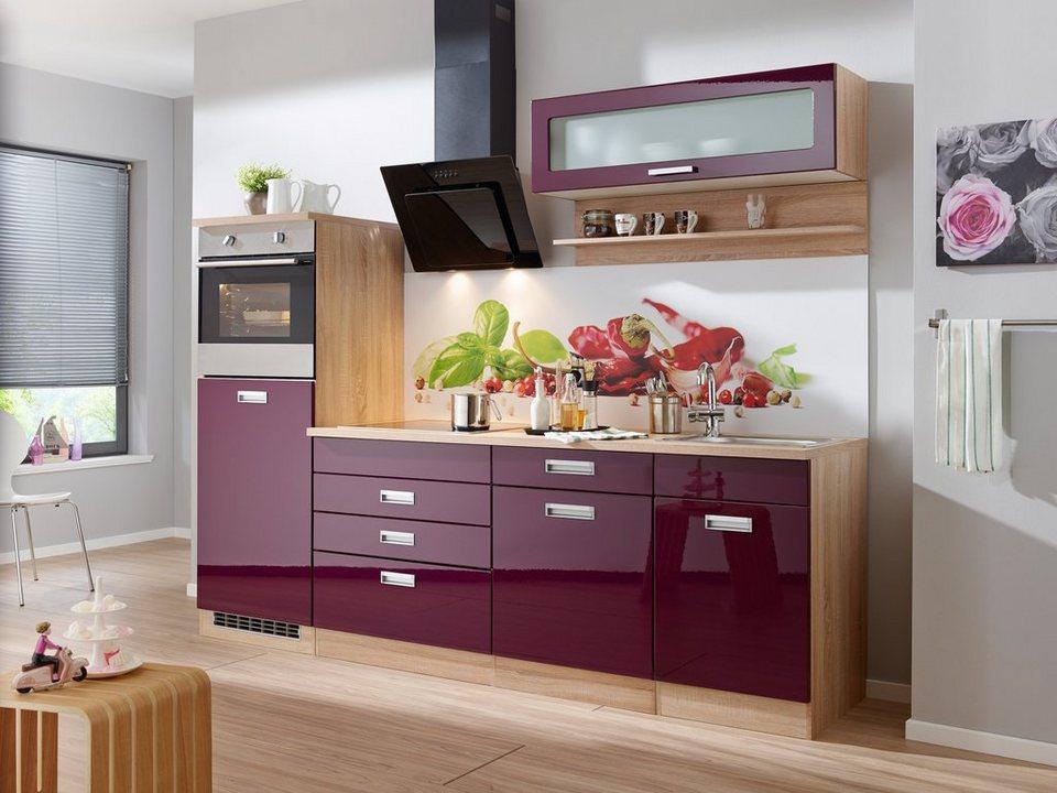 Küchenzeile ohne E-Geräte »Fulda, Breite 240 cm« in auberginefarben