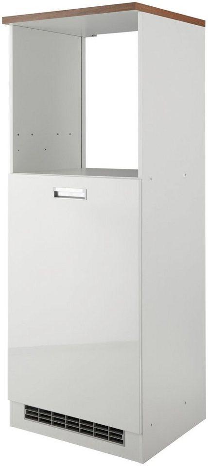 Held Möbel Kombinierter Backofen-Kühlumbauschrank »Fulda«, Höhe 165 cm in weiß/nussbaumfarben