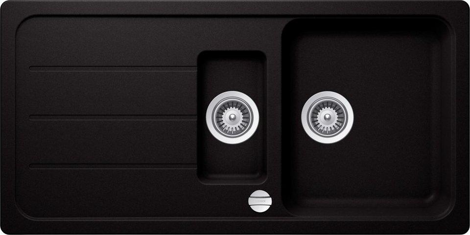 Domogranitspüle »Formhaus«, mit Restebecken, 100x50 cm in schwarz
