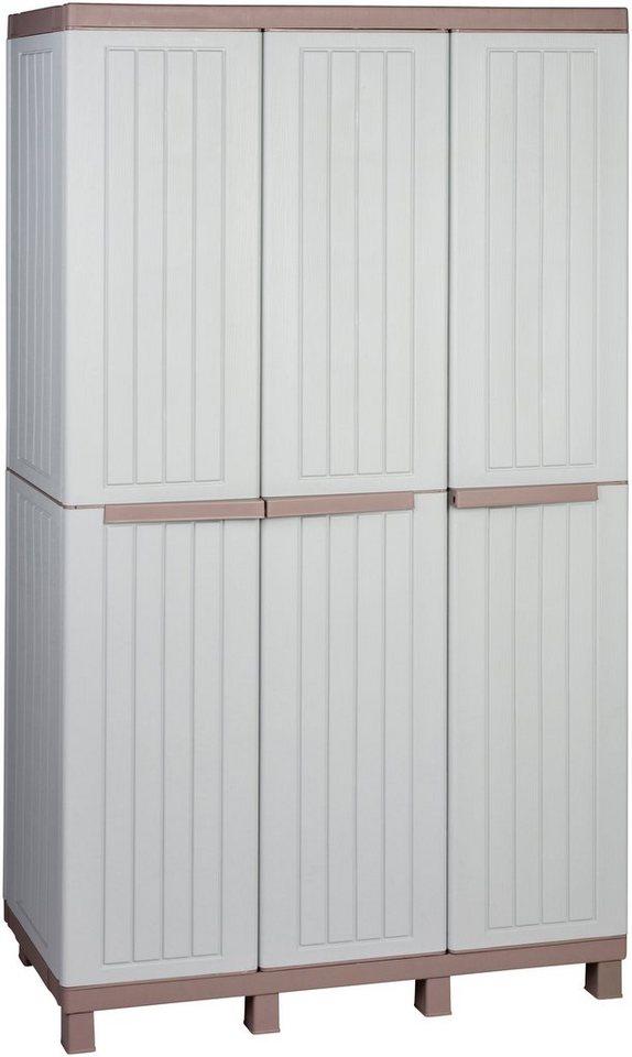 Multifunktionsschrank »Holz-ähnliche Struktur«, mit 3 Türen in grau