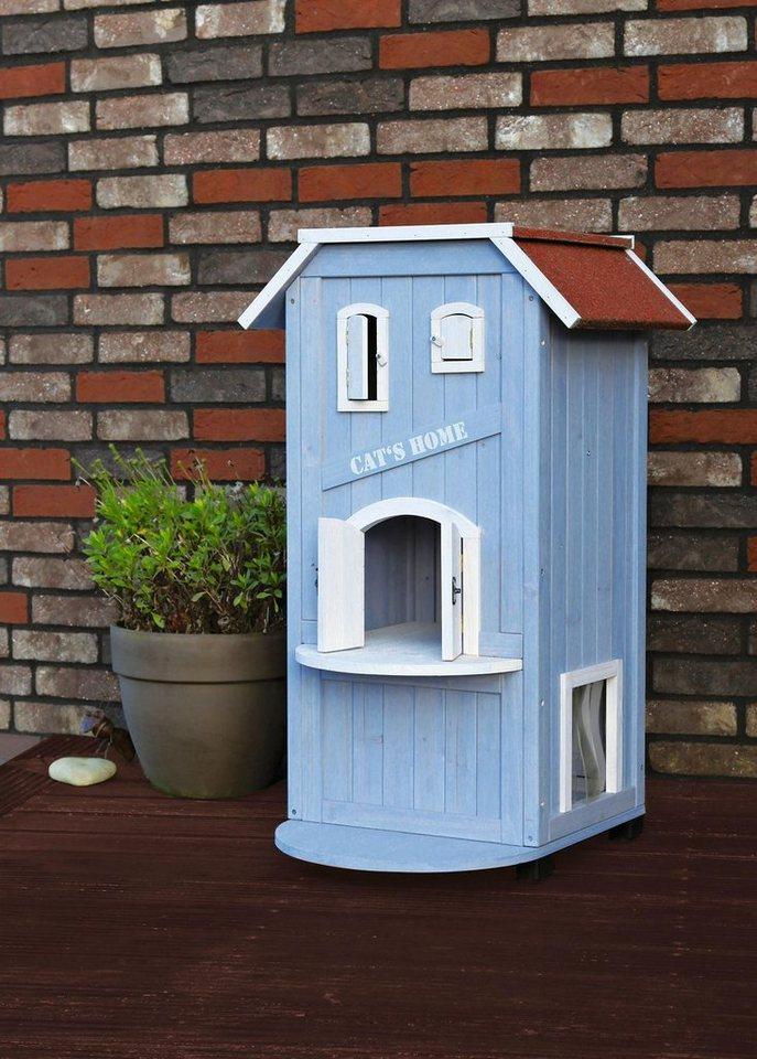 Katzenhaus »Cat´s Home« in blau/weiß