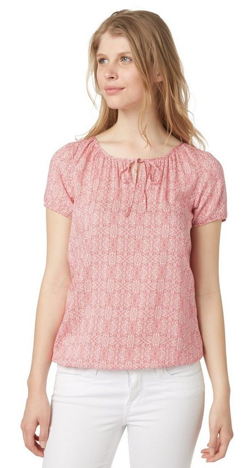 TOM TAILOR Bluse »gemusterte Kurzarm-Bluse« in berry red