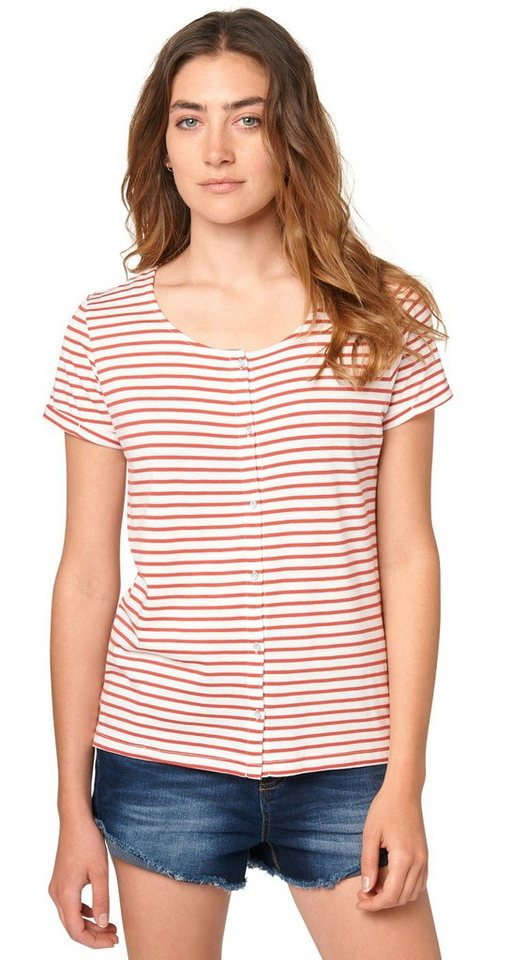 TOM TAILOR DENIM T-Shirt »striped shirt w. placket« in baked apple red