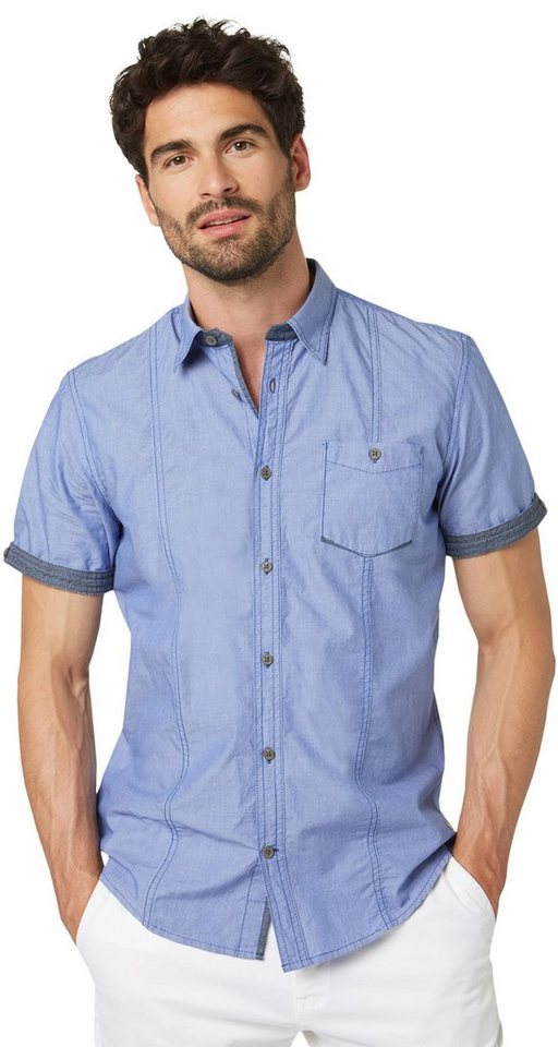 TOM TAILOR Hemd »Kurzarm-Hemd mit Nadelstreifen« in deep ultramarine blu