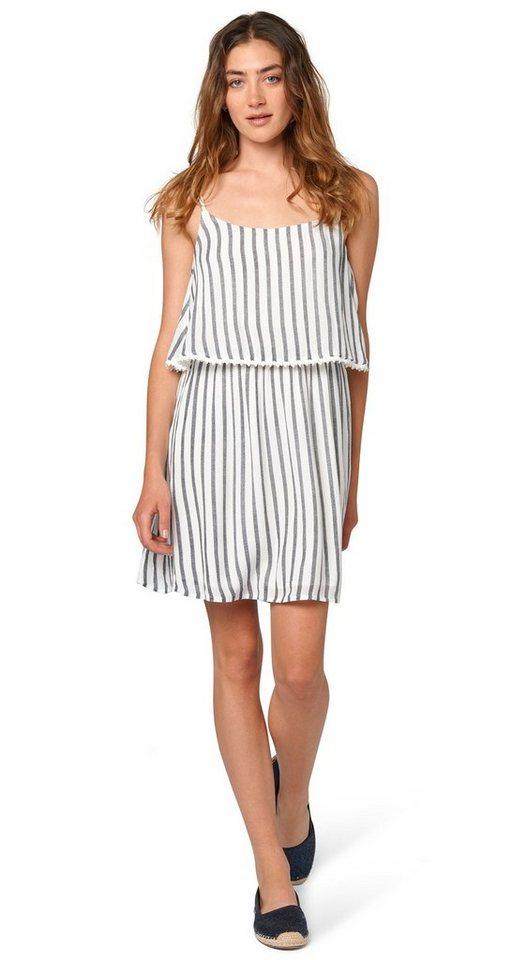 TOM TAILOR DENIM Kleid »Sommerkleid mit vertikalen Streifen« in total eclipse blue