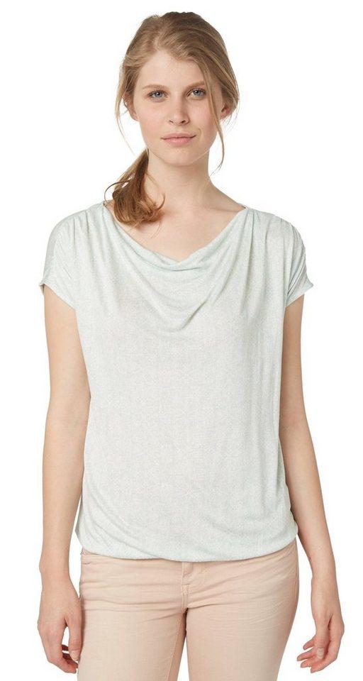 TOM TAILOR T-Shirt »T-Shirt mit Wasserfall-Ausschnitt« in fresh mint green