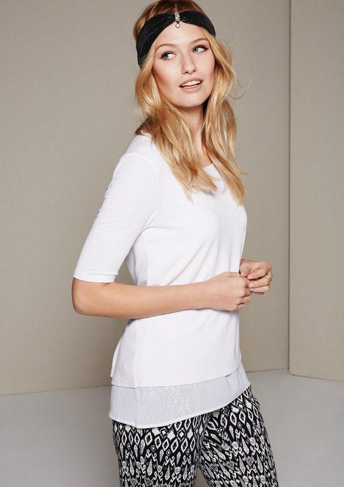 COMMA Elegantes Kurzarm-Jerseyshirt im raffinerten Materialmix in white